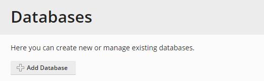 Databases options in Plesk