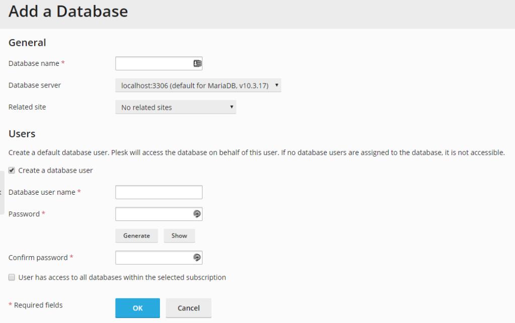 Add a database screen in Plesk