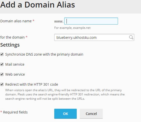 Add a domain alias screen in Plesk