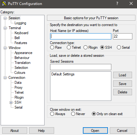 Putty connection configuration settings