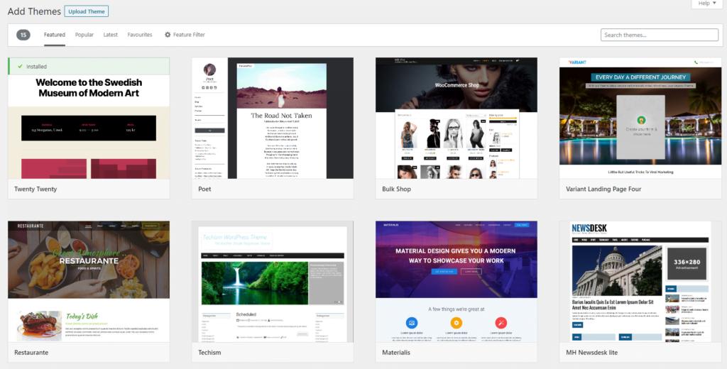 Add Themes screen in WordPress