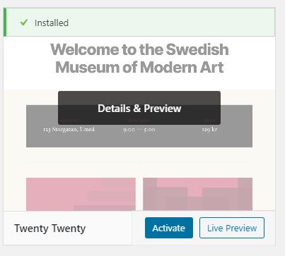 Installed theme screen on WordPress
