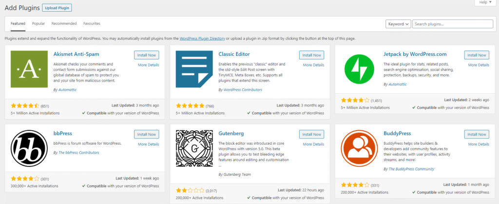 Wordpress plugin directory screen