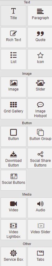 Widget options in Sitepad