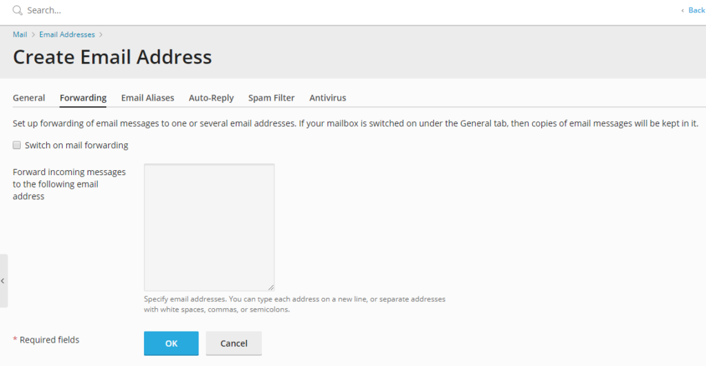 create email forwarder screen in Plesk