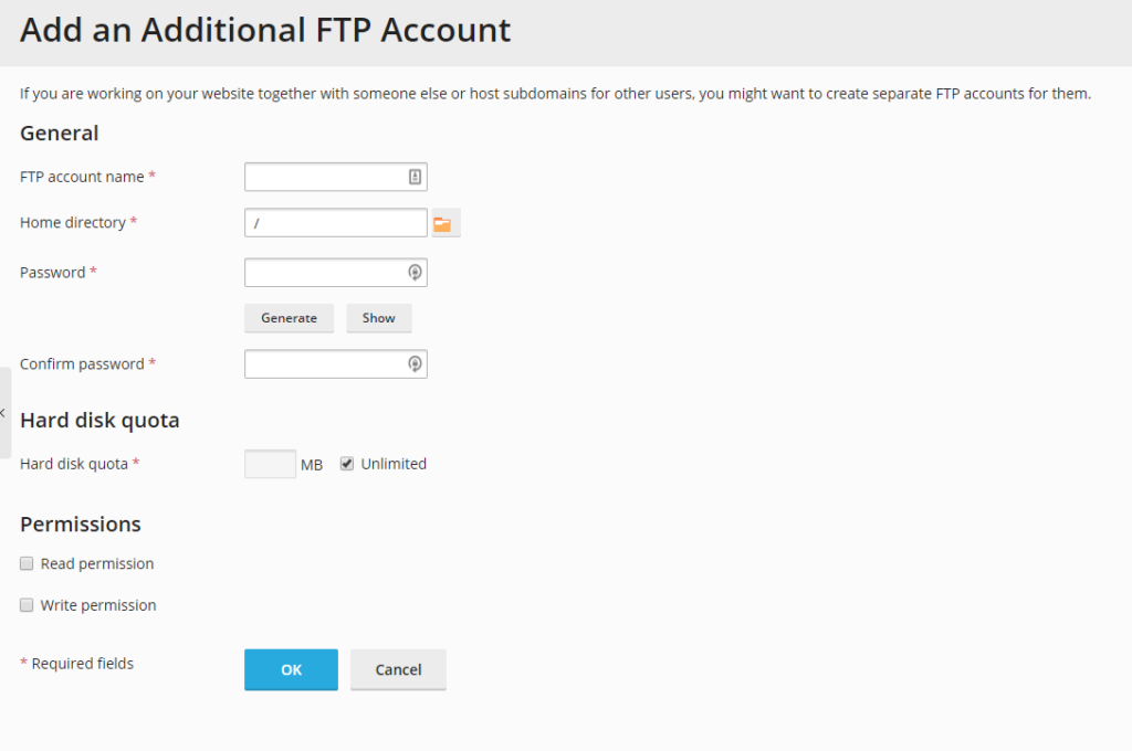 Add an FTP Account screen in Plesk