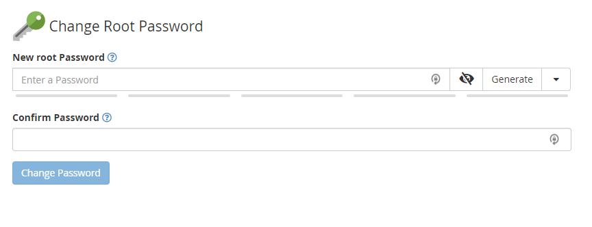 Change Root Password screen in WHM