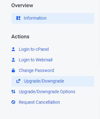 Upgrade/Downgrade option in cPanel