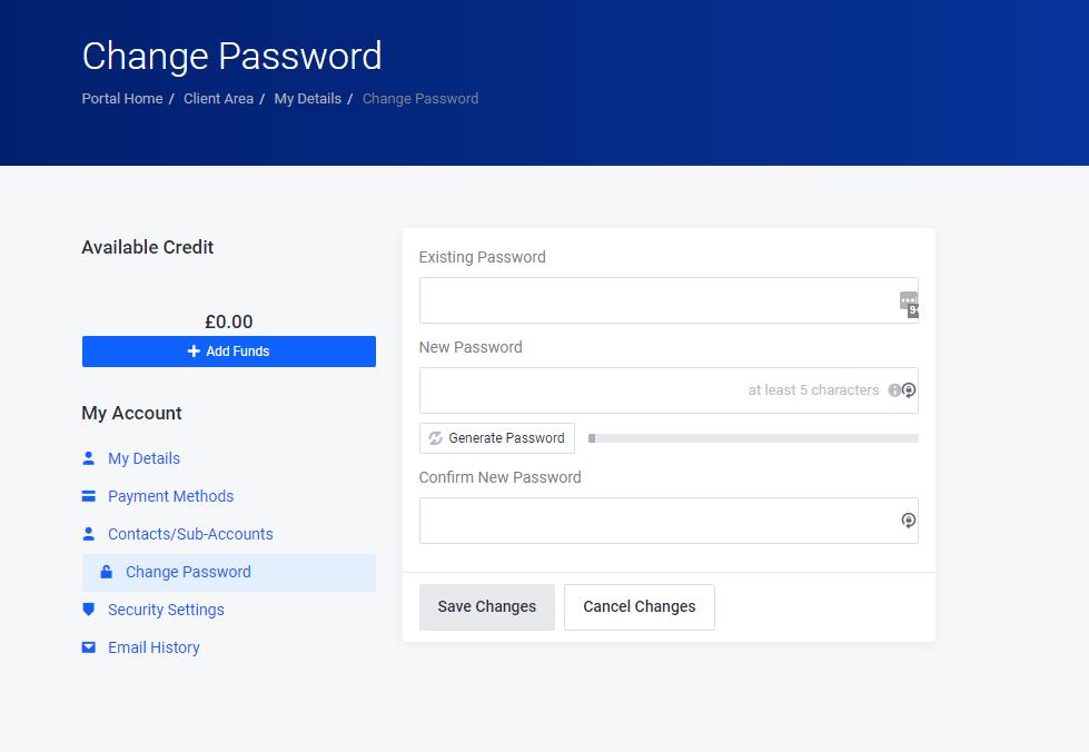 Change Password screen in Client Area