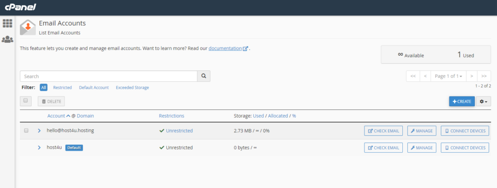 Email Accounts screen in cPanel