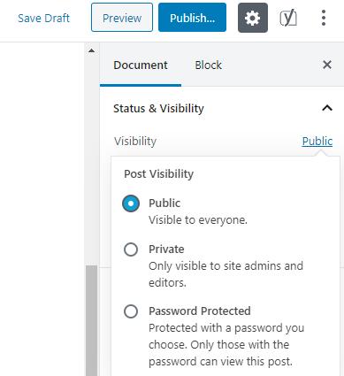Visibility settings in WordPress