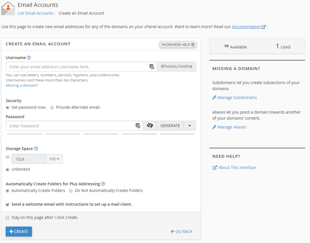 Create an email account screen in cPanel