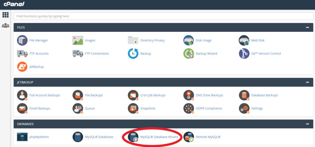 MySQL Database Wizard location in cPanel