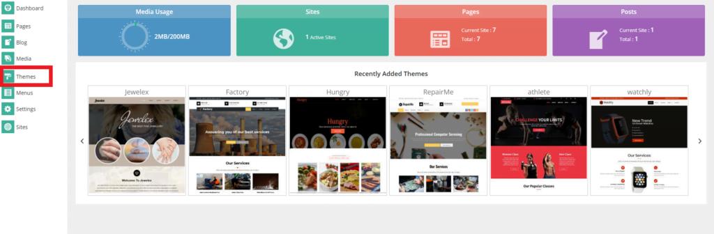 SitePad themes option