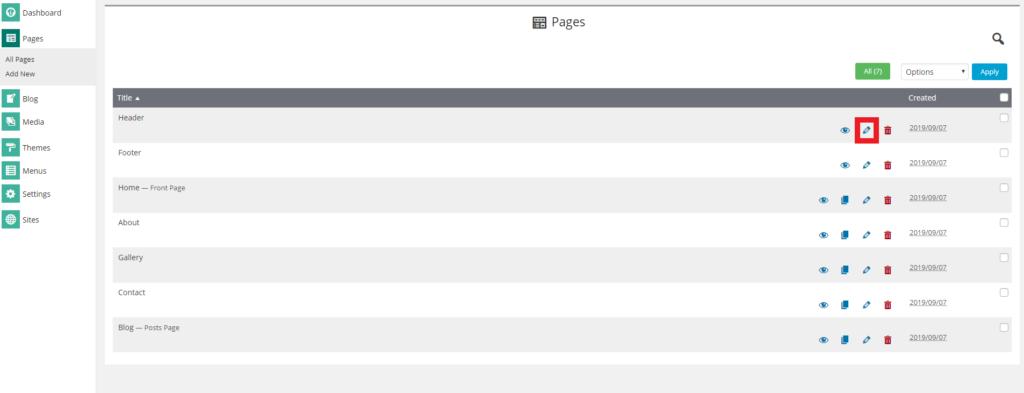 Edit header option in SitePad