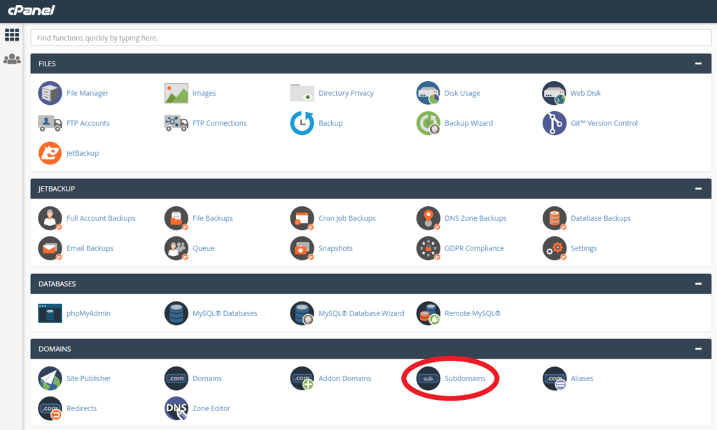 Subdomains location in cPanel