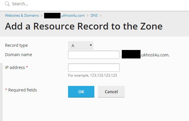 Add a DNS record screen in Plesk