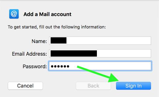 screenshot of adding mail account to Mac Mail