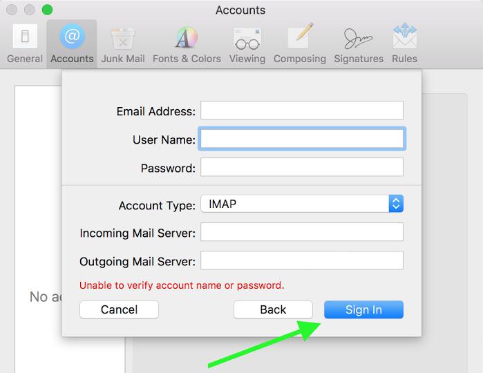 screenshot of manual settings in Mac Mail