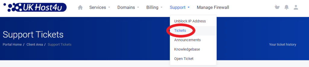 support tickets option in Client Area