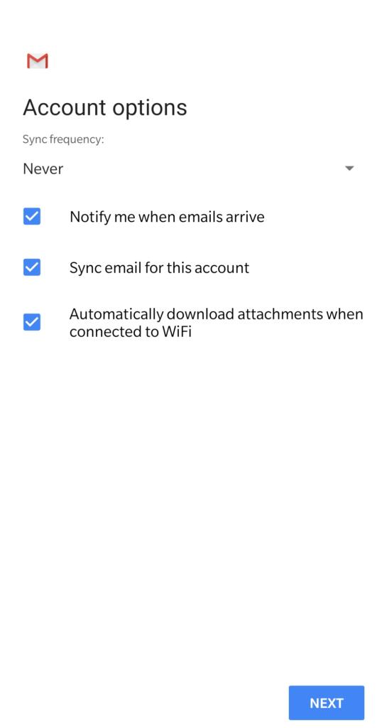image of Account options on Gmail setup