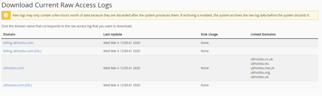 download Raw Access Logs options in cPanel
