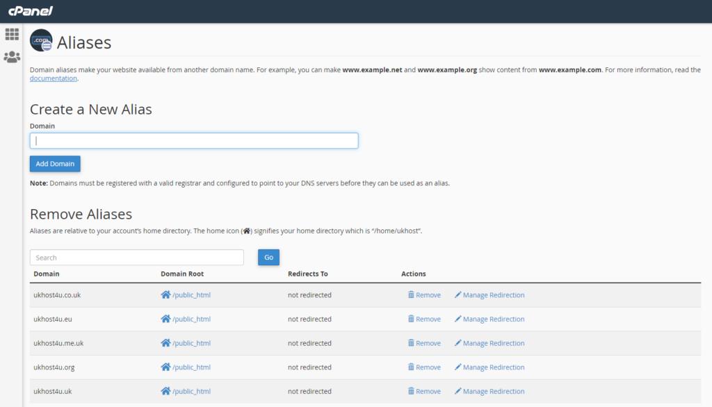 screenshot of creating new alias in cPanel