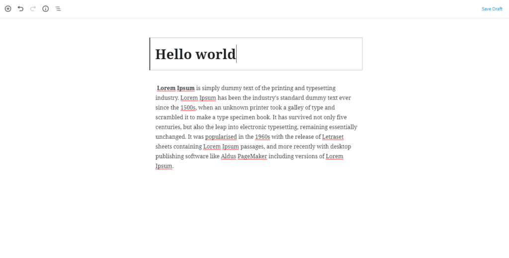Example of text block in WordPress