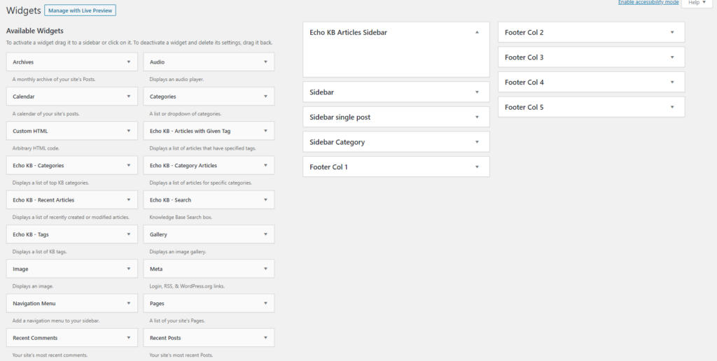 available widgets screen in WordPress