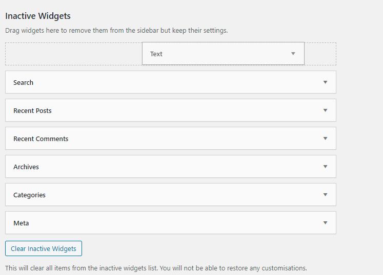 deactivating widgets in WordPress