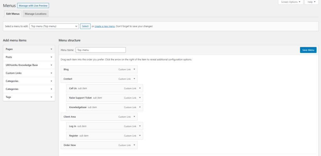 Menus management screen in WordPress