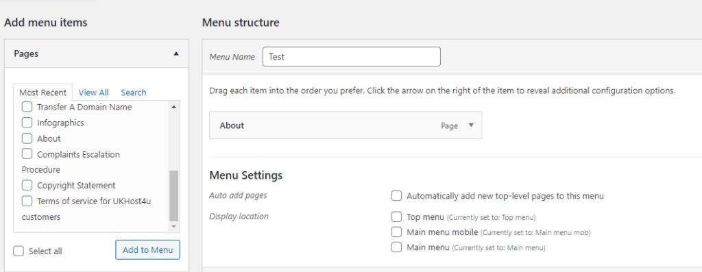 item added to menu in WordPress