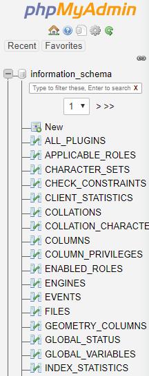 PHPMyAdmin databases view