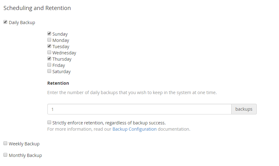 backup scheduling options in WHM