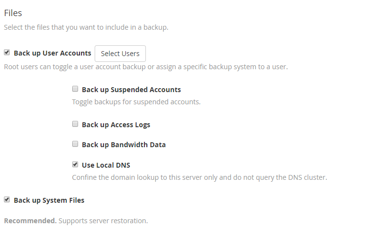 backup files options in WHM