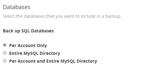 database backup options in WHM