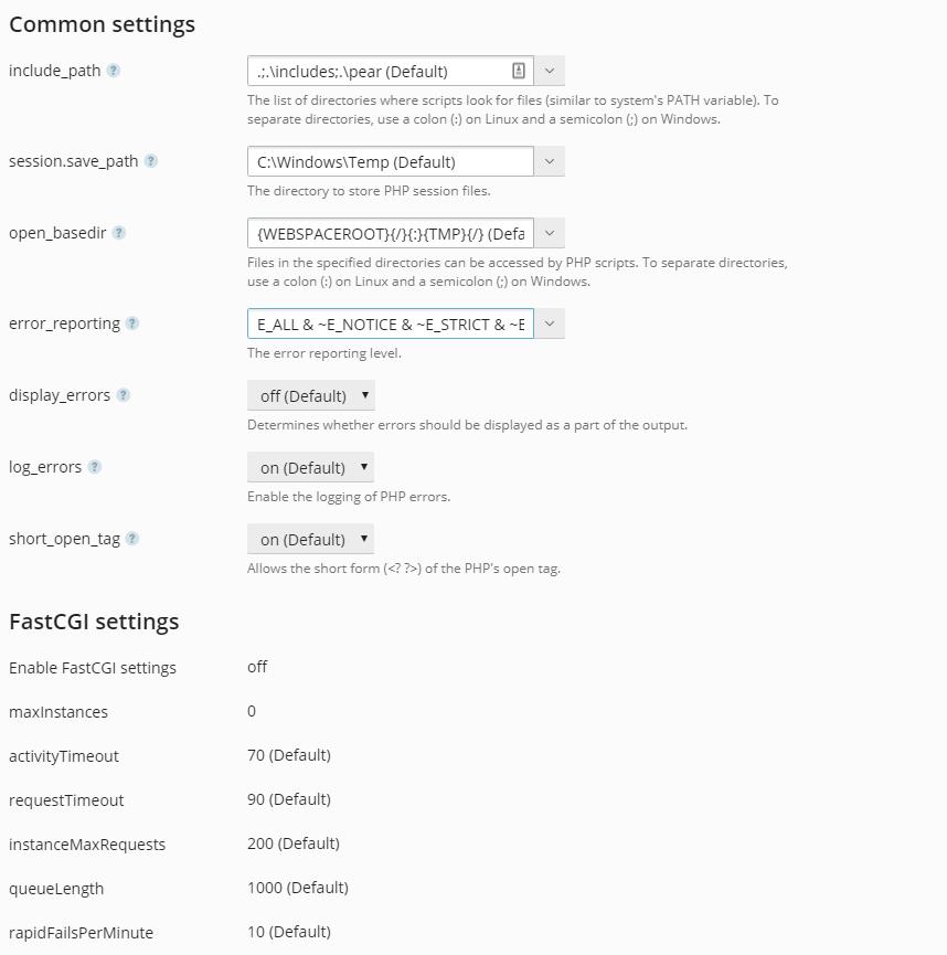 PHP settings in Plesk