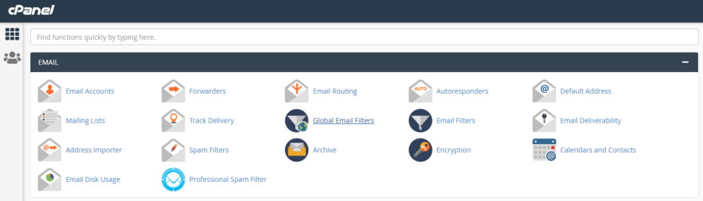 screenshot of Email section in cPanel