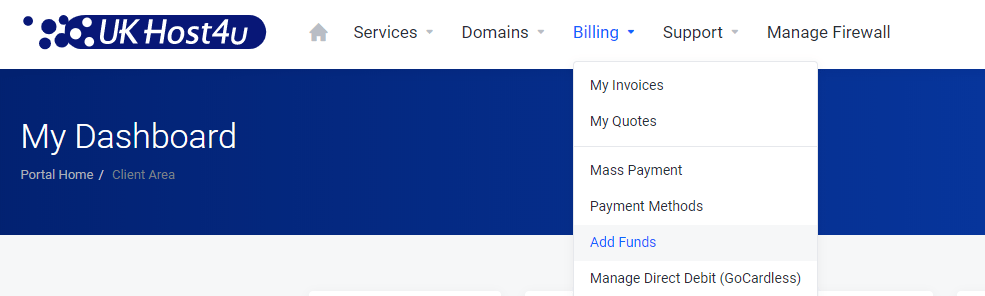image showing add funds in Client Area