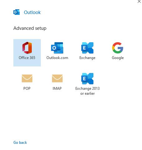 advanced setup screen on Outlook