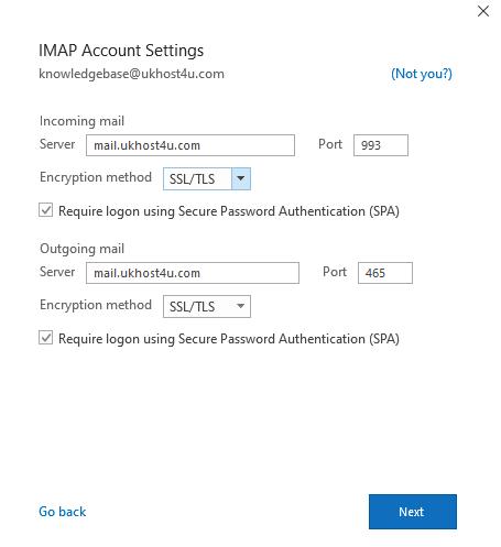 IMAP account settings on Outlook