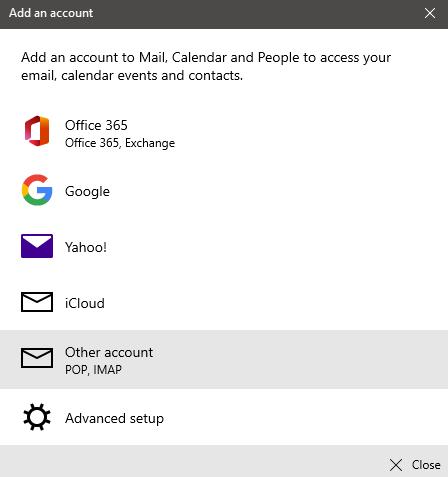 add account screen in Windows Mail
