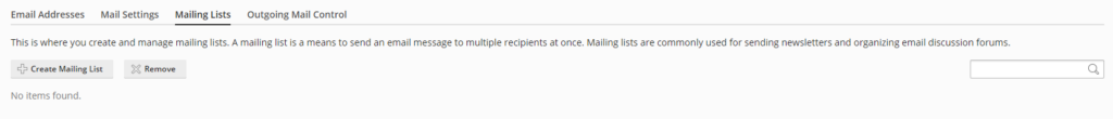 Mailing Lists tab in Plesk