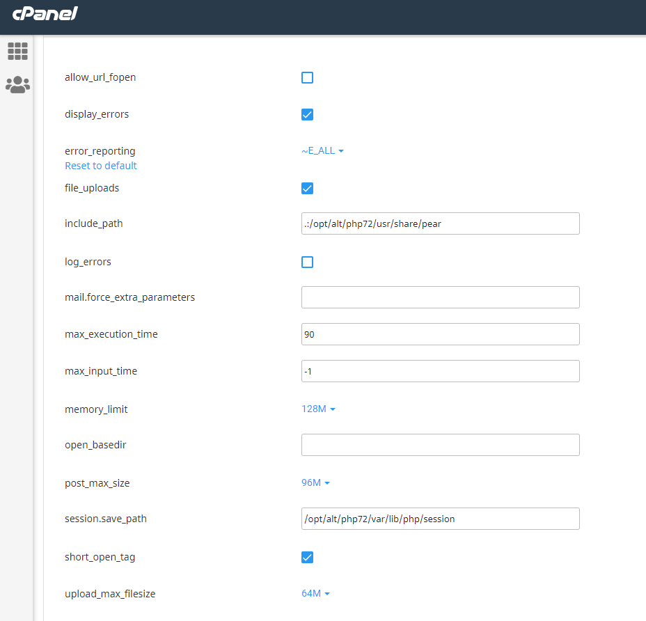 changing PHP options screen in cPanel