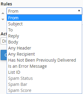 screenshot of filter rules