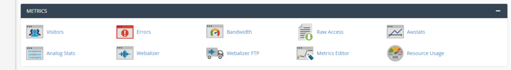 Metrics section in cPanel