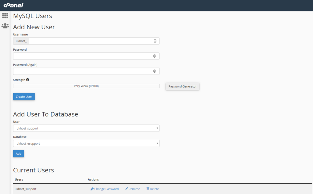 adding new user screen to MySQL databases in cPanel