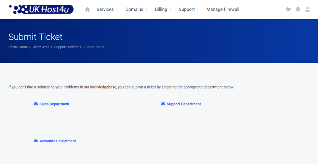 support ticket department selection screen in Client Area