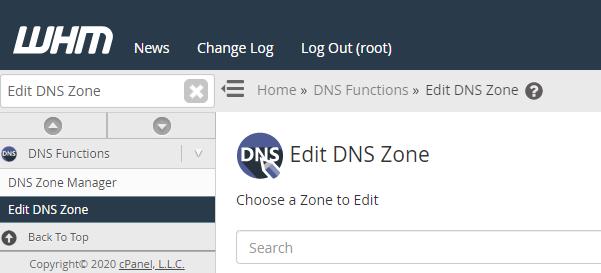 edit DNS zone option in WHM