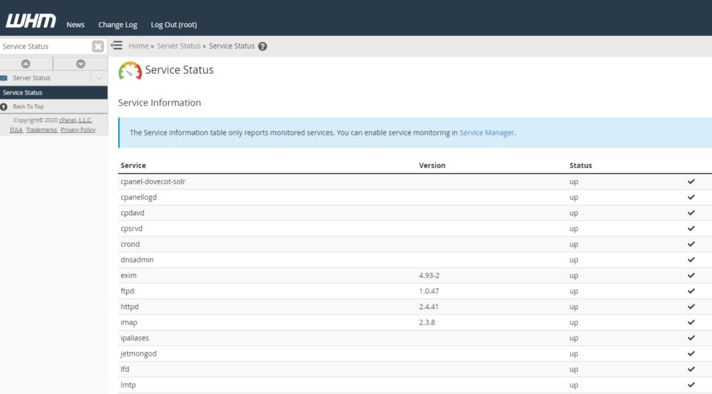 service status screen in WHM
